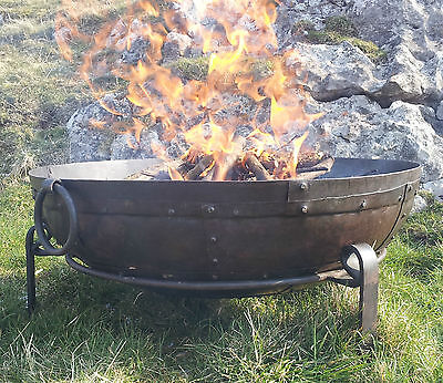 70cm Hand Worked Wrought Iron Garden Fire Bowl Fire Pit (Indian Kadai)