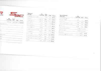 Tvr 's3C' Price List Sheet  'brochure' + Extras And Options June 1990