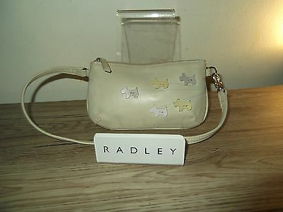 Radley 'Walkies' Wristlet / Evening Bag - Cream Leather