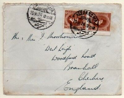 Egypt: 1924 cover to UK franked 10m from Alexandria (Douane)