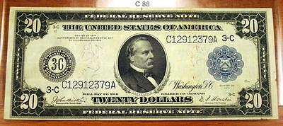 1914 Large Size Blue Seal $20 Federal Reserve Note / Bill - C88