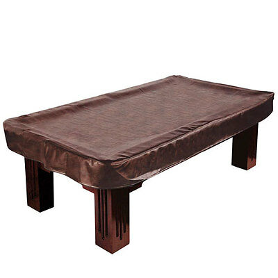 8' Billiard Cover Brown Wrinkle Free Leatherette Pool Table Cover 8'x4' + drape