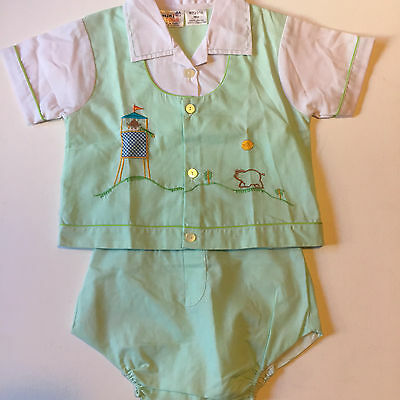 Baby Boys 2 Piece Outfit Set, Shirt and Shorts, Vintage Mini Togs 18 Months