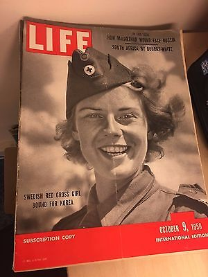 Vintage Life Magazine - International Edition - October 9 1950 - Red Cross Girl