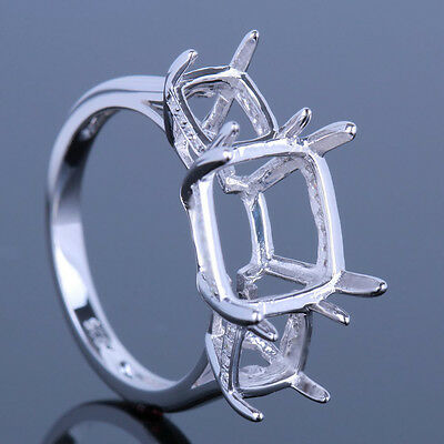 Three Stones 10K White Gold Semi Mount Solitaire Engagement Ring Cushion Cut
