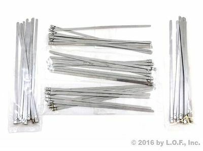 50 Heavy Duty 4.6mm x 200mm 304 Stainless Steel Cable Zip Tie Down Wire