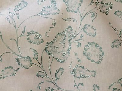 COLEFAX & FOWLER Floral hand blocked linen off white teal 3+ yards