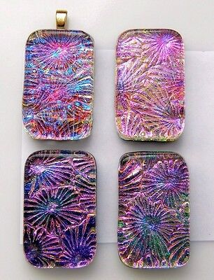 PREMIUM 4 pcs MULTI LAYERS COLORS pendant DICHROIC FUSED GLASS (BH20) CAB MOSAIC