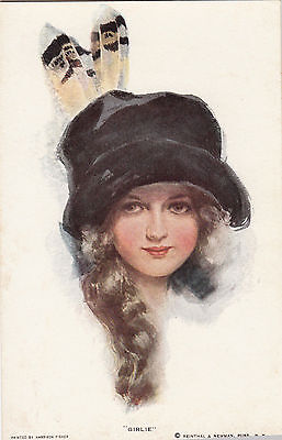 Harrison Fisher    Beautiful Girl In Hat And Feathers    Girlie