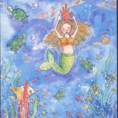 Mermaids Swim With Turtles,star Fish,sea Life,becky Kelly Collectible Postcard A