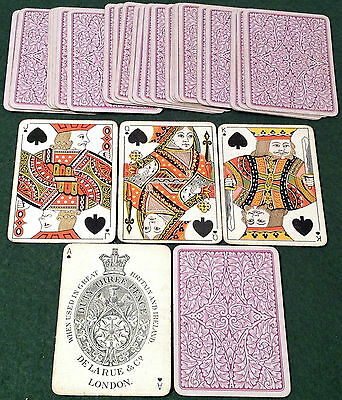 ANTIQUE 1890s DE LA RUE ** PURPLE INTRICATE FLOWERS ** PLAYING CARDS Small Index