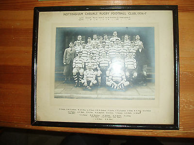 Framed Photograph Nottingham Casuals Rugby Football Club 1936-37 Original