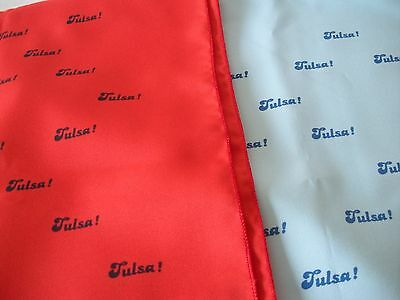 """2 Vintage Scarves """"TULSA!"""" Blue & Red w/TULSA TEXT by """"a BARBARA"""" 26"""" Square"""