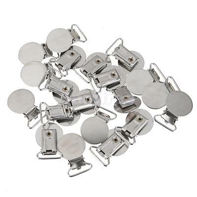 20xPacifier Metal Suspender Clips Ribbon Craft Hook Holder Silver 20mm