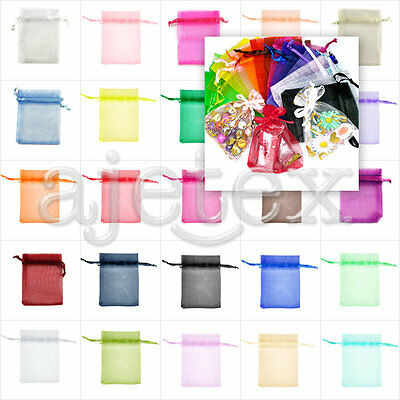 20pcs Premium Rectangle Organza Bags Jewellery Pouches Wedding Gift Bags 6Size