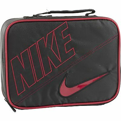 Nike Air Red Black Soft School Insulated Lunch Tote Bag Box NWT Kids Adults