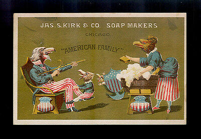 Eagle Family-Mama Cleans, Papa Whittles, Baby Plays-Victorian Trade Card