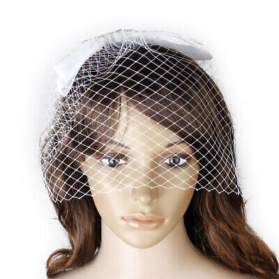 Bridal White Net Birdcage Face Veil w/ Bowknot Hairclip Wedding Photo Fascinator