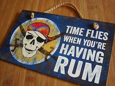 TIME FLIES WHEN YOU'RE HAVING RUM Tropical Pirate Skull Beach Bar Sign Decor NEW