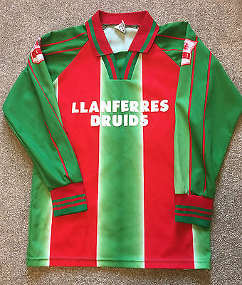 Vintage Welsh Wales Llanferres Druids Football Fc Shirt Long Sleeve S Small