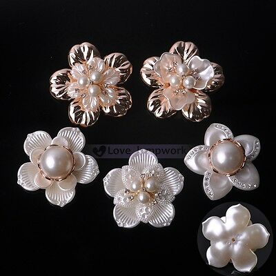 Women's Resin & Rhinestones Pearl Flower Applique For Wedding Bridal Brooch Pin
