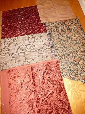 5 Pc LOT Vintage UPHOLSTERY FABRIC Remnants Sample Velvet Tapestry Red Gray Gold