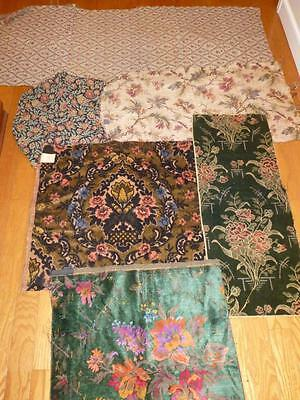 6 Pc LOT Vintage UPHOLSTERY FABRIC Remnants Sample Velvet Tapestry Green Black