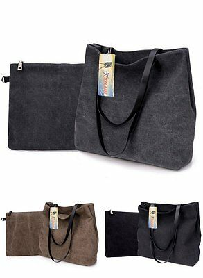 ICOLOR Women Canvas Black Grey Khaki Shoulder Tote Bag Ladies Girls Top-Handbag