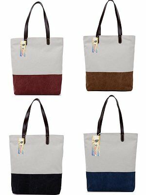 ICOLOR Women Canvas Shoulder Handbag Tote Bag for School Shopping Office Work