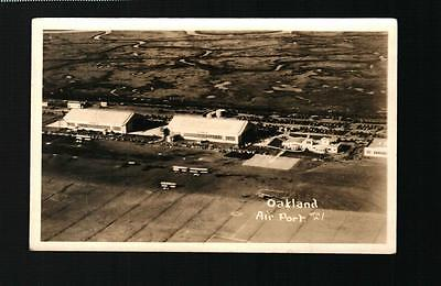 (9536) RPPC Postcard - Overhead View Oakland Airport with Bi-Planes