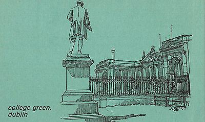 Dublin,Ireland,College Green,Bank of Ireland,Used,Eire Stamp,1970