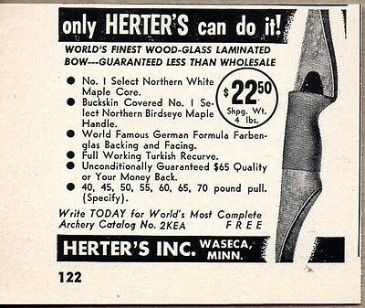 1958 Print Ad Herter's Wood Recurve Hunting Bows Waseca,MN