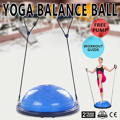"23"" Bosu Balance Yoga Trainer Ball Kit W/ Pump Workout Resistance Outdoor"