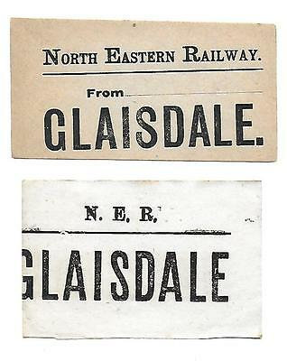 NER, North Eastern Railway Luggage Labels x2. Glaisdale Railway Station.
