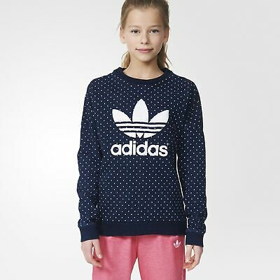 adidas Originals Girl's Trefoil Print Polka Dot Print Sweatshirt Crew Neck Blue