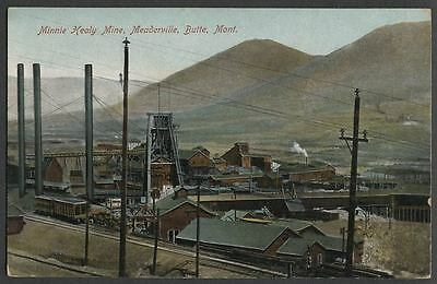 Meaderville Butte MT Montana: c.1907-10 Postcard MINNIE HEALY MINE