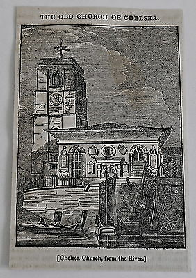 small 1832 magazine engraving ~ OLD CHURCH OF CHELSEA from the river, England