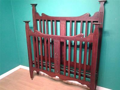 High Arts and & Crafts walnut  double bed bedstead carved motifs