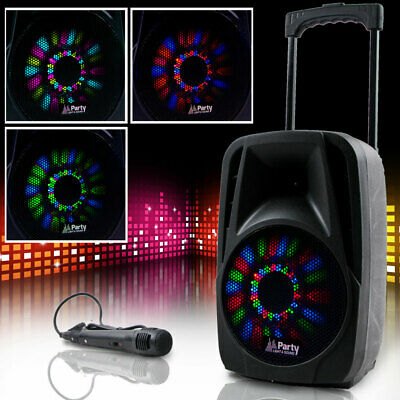 Tragbare DJ Anlage Karaoke Bluetooth USB SD Mikro MP3 PARTY-8LED Lautsprecher