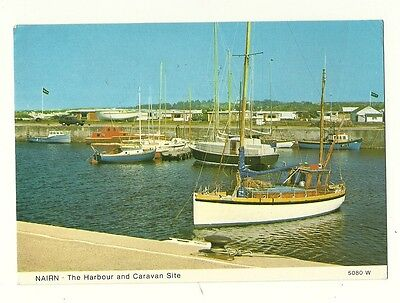 Nairn - a larger format, photographic postcard of the Harbour and Caravan Site
