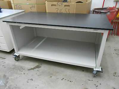 "Lab/work Bench/table 71 X 36 X 29"" (Lwh) With 1"" Black Composite Top/metal Shelf"