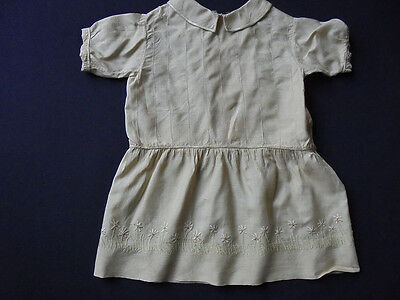 Handmade Edwardian Girl's Silk Dress - Embroidered Daisies  - French?