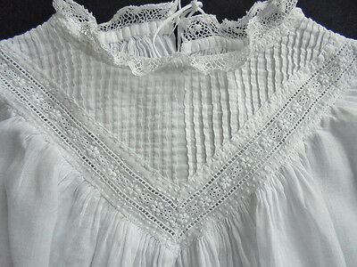 Victorian  Christening Gown - dress - Lace White Work - Handmade