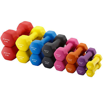 Gold Coast Cast Iron Neoprene Dumbbell Fitness Hand Weights Set of 2 - 0.5kg-5kg