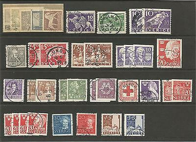 Sweden     Sverige    1930's    1940's    Small Collection / Lot     Used Stamps