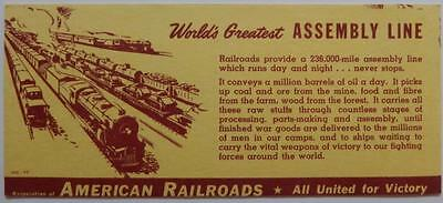 WWII Association of American Railroads Ink Blotter Worlds Greatest Assembly Line