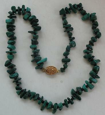 "Antique Chinese Malachite Black Onyx Beads Necklace Silver Clasp 18"" Long"