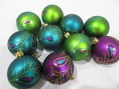 "(10) Christmas Glitter Peacock Green Teal Green Ball 2.5"" Ornaments Decorations"