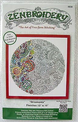"""Zenbroidery The art of free-form Stiching """" Ornaments """"   10"""" Square   NIP"""