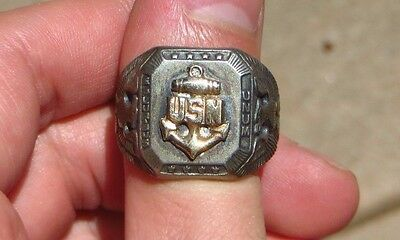 WW2 US Navy CHIEF Silver Sterling Ring w/ 10K Top USN US Size 10 WWII Anchor